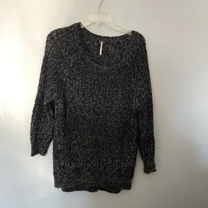 Free people mixed knit scoop neck sweater S